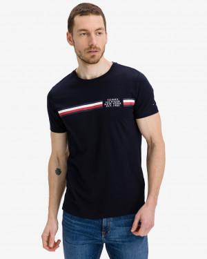 Tommy Hilfiger tmavě modré pánské tričko Corp Split