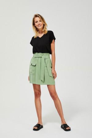 Moodo zelená sukně s kapsami a vázáním -