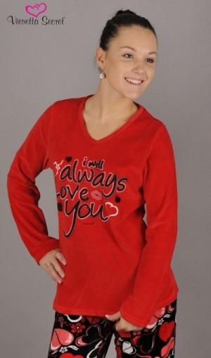 Dámské teplé pyžamo Always 2383 - Vienetta červeno-černá