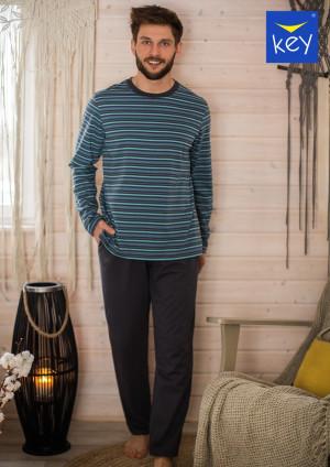 Pánské pyžamo Key MNS 351 B21 3XL-4XL grafitowy-paski 3XL