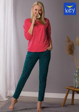 Dámské pyžamo Key LNS 708 B21 2XL-4XL malinowy-zielony