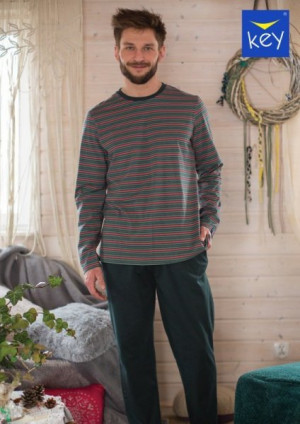 Key MNS 380 B21 Pánské pyžamo plus size 3XL zelená-proužky