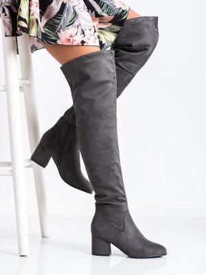 Zajímavé  kozačky dámské šedo-stříbrné na širokém podpatku