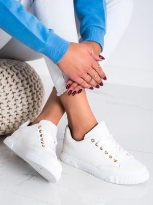 Stylové dámské bílé  tenisky bez podpatku