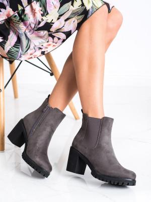 Trendy dámské  kotníčkové boty šedo-stříbrné na širokém podpatku