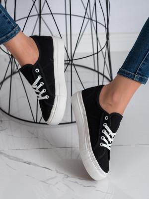 Moderní dámské černé  tenisky bez podpatku