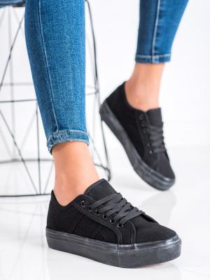 Pohodlné  tenisky dámské černé bez podpatku