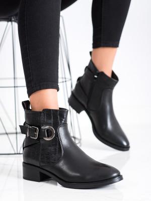 Jedinečné dámské  kotníčkové boty černé na širokém podpatku
