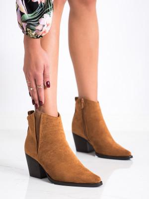Luxusní dámské  kotníčkové boty hnědé na širokém podpatku
