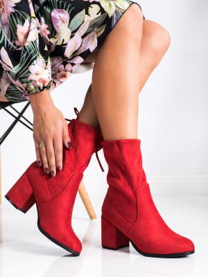 Trendy  kotníčkové boty dámské červené na širokém podpatku