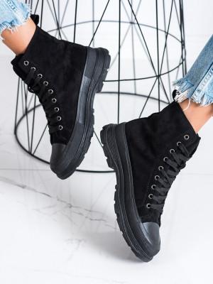 Klasické dámské černé  tenisky bez podpatku