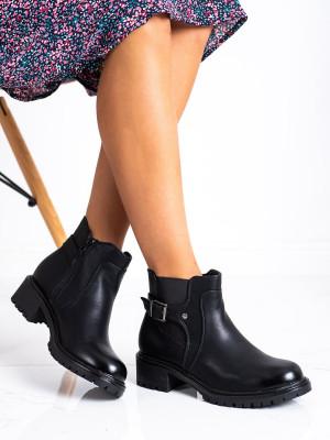 Komfortní  kotníčkové boty černé dámské na širokém podpatku