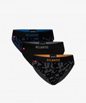 Pánské slipy Atlantic 3MP-104 A'3 denim-czarny-grafitowy