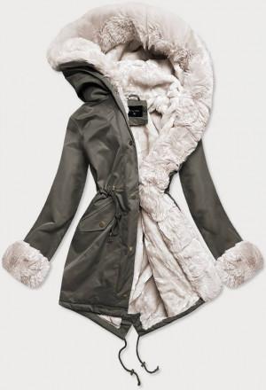 Khaki-ecru dámská zimní bunda parka s mechovitým kožíškem (B530-11046) Ecru XS (34)