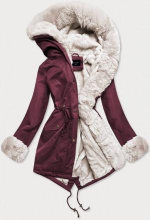 Dámská zimní bunda parka v bordó-ecru barvě s mechovitým kožíškem (B530-27046) Ecru XS (34)