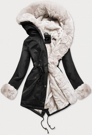 Dámská zimní bunda parka v černo-ecru barvě s mechovitým kožíškem (B530-1046) Ecru XS (34)