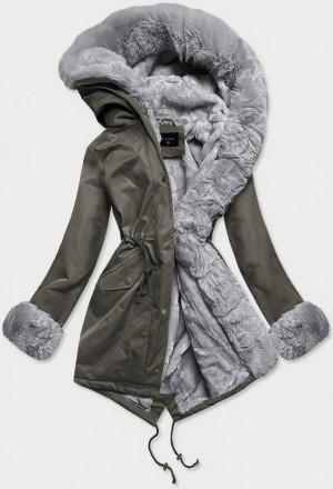 Khaki-šedá dámská zimní bunda parka s mechovitým kožíškem (B530-11070) Khaki XS (34)