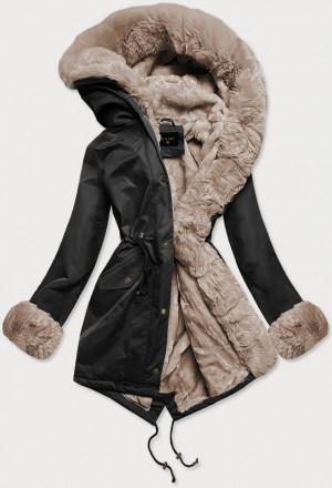 Černo-béžová dámská zimní bunda parka s mechovitým kožíškem (B530-1012) beżowy XS (34)