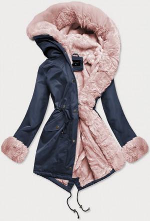 Tmavě modro-růžová dámská zimní bunda parka s mechovitým kožíškem (BR529-3081) różowy