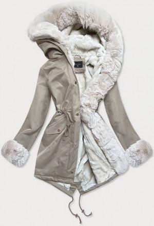 Béžovo-ecru dámská zimní bunda parka s mechovitým kožíškem (BR529-46046) beżowy
