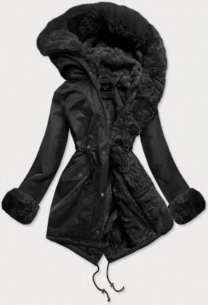 Černá dámská zimní bunda parka s mechovitým kožíškem (BR529-101) czarny