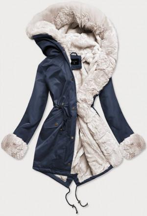 Tmavě modrá-ecru dámská zimní bunda parka s mechovitým kožíškem (BR529-3046) Ecru