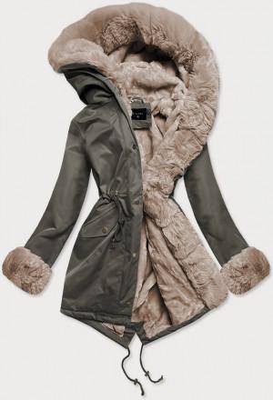 Khaki-béžová dámská zimní bunda parka s mechovitým kožíškem (BR529-11012) beżowy
