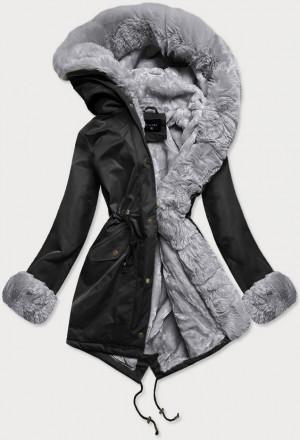 Černo-šedá dámská zimní bunda parka s mechovitým kožíškem (BR529-1070) czarny
