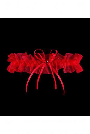 Dámský podvazek Julimex PW-98 Grenada Silikon czerwony uniwersalny