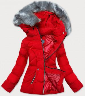 Krátká červená dámská zimní bunda s kapucí (B9538-4) czerwony S (36)