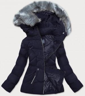 Tmavě modrá krátká dámská zimní bunda s kapucí (B9538-3) námořnická modrá S (36)