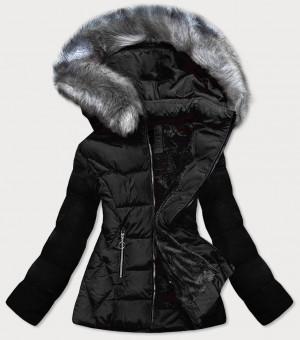 Černá prošívaná zimní bunda s kapucí (B-9903) czarny S (36)