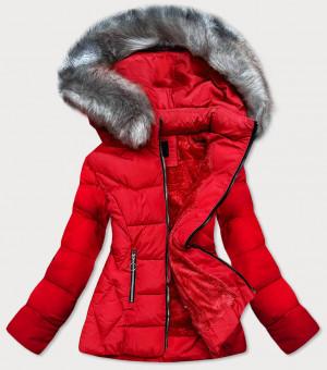 Červená prošívaná zimní bunda s kapucí (B-9903) czerwony S (36)