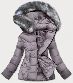 Šedá prošívaná zimní bunda s kapucí (B-9903) Šedá S (36)