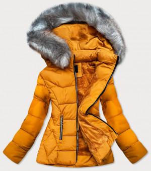 Žlutá prošívaná zimní bunda s kapucí (R-9903) żółty S (36)