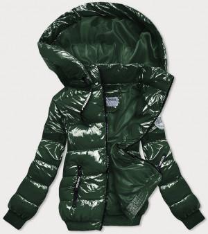 Lesklá zelená zimní bunda se stahovacími lemy (B9779-10) zielony S (36)