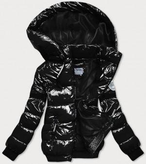 Lesklá černá zimní bunda se stahovacími lemy (B9779-1) czarny S (36)