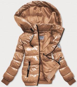 Lesklá zlatá zimní bunda se stahovacími lemy (B9779-101) złoty XXL (44)