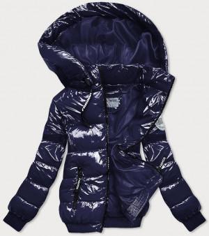 Tmavě modrá lesklá zimní bunda se stahovacími lemy (B9779-3) námořnická modrá S (36)