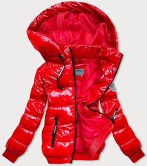 Lesklá červená zimní bunda se stahovacími lemy (B9779-4) czerwony S (36)