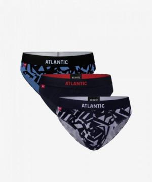 Atlantic 3MP-104 modré/tmavě modré/šedé Pánské slipy 3 ks XXL vícebarevná
