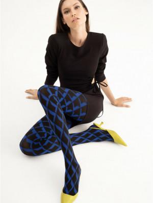 Dámské punčochové kalhoty RETRO BLUE - 60 DEN BLACK\COBALT 4