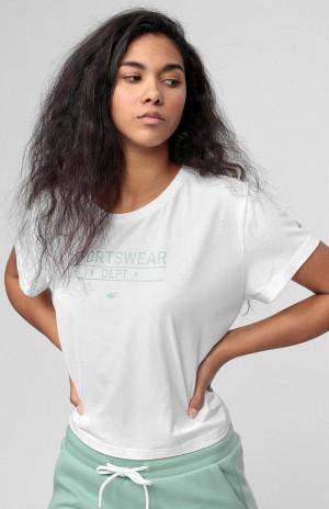 Dámské tričko 4F TSD013 Bílé Bílá