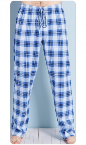 Pánské pyžamové kalhoty Jan - Gazzaz modrá kostka 2XL