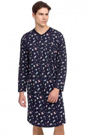 Pánská noční košile 15647 - 180 - Tmavě modrá - Vamp Modrá