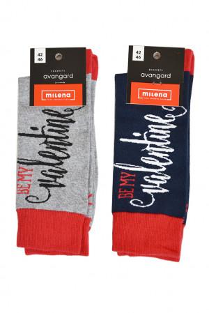 Pánské ponožky Avangard Be my valentine - Milena černo-červená 42/46