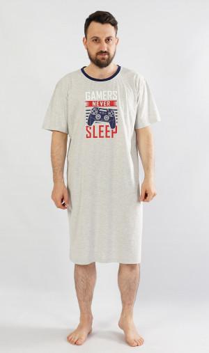 Pánská noční košile s krátkým rukávem Hra - Gazzaz šedá s potiskem