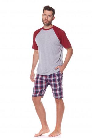 Pánské pyžamo L&L Baseball 2165 kr/r M-3XL tmavě modrá/fialová