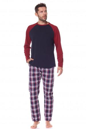 Pánské pyžamo L&L Baseball 2163 dł/r M-3XL tmavě modrá/fialová