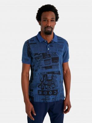Modré pánské polo tričko Desigual Newspaper